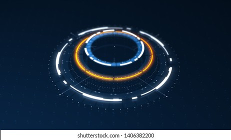 Futuristic conceptual technology background, circular HUD interface hologram, 3d render in high resolution, sci fi and cyberpunk wallpaper