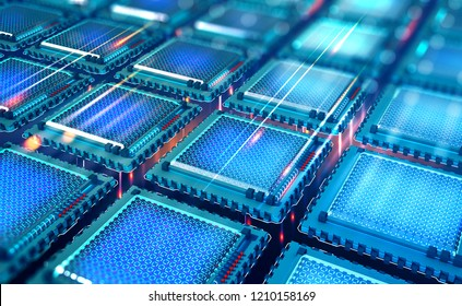 Futuristic CPU. Quantum processor in the global computer network. 3d illustration of digital cyber space