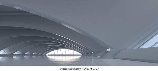 Futuristic curve tunnel. Long corridor interior view. Future modern showroom background concept. Abstract interior design. 3D rendering.
