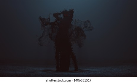 Futuristic Cyber Punk Demon Digital Virus with Arms Up Formed out of lots of Small Cubes with Red Eyes and a Glowing Red Heart with a Swarm of Cubes 3d illustration 3d render