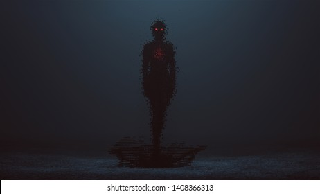 Futuristic Cyber Punk Demon Digital Virus Standing Formed out of lots of Small Cubes with Red Eyes and a Glowing Red Heart Standing in a Splash of Cubes 3d illustration 3d render