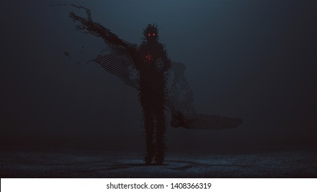 Futuristic Cyber Punk Demon Digital Virus in Long Boots Waving at Camera made out of lots of Small Cubes with Red Eyes and a Glowing Red Heart with a Swarm of Cubes 3d illustration 3d render
