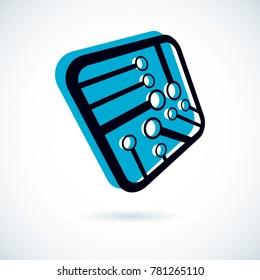 Futuristic cybernetic scheme, motherboard. Digital element, square circuit board. Electronic microprocessor logo.