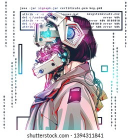 Futuristic - Cyberpunk inspired technological image of android, human, cybord woman being cyber technology. - Illustration