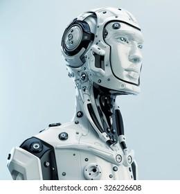 Futuristic cyborg in profile. Side render of stylish robotic man / Futuristic cyborg in profile