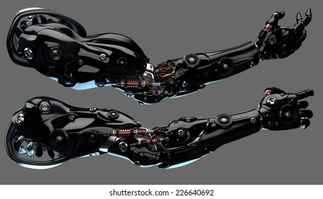Futuristic cyborg prosthetic arms with strong muscular structure / Robotic hands