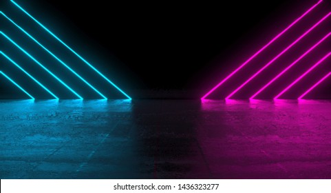 Futuristic dark podium with blue and pink lights. 3D Rendering illustration