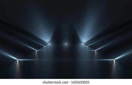 Futuristic dark podium with light and reflection background.