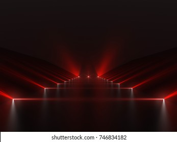 Futuristic dark red podium with light and reflection background. 3D rendering.