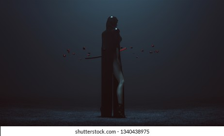 Futuristic Demon Nun In a High Split Dress Abstract Demon Assassin with Samurai Sword and the Power of Telekinesis 3Q Rear Right Side 3d illustration 3d render