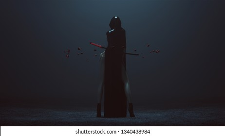 Futuristic Demon Nun In a High Split Dress Abstract Demon Assassin with Samurai Sword and the Power of Telekinesis Back 3d illustration 3d render