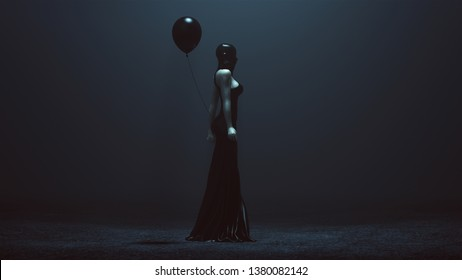 Futuristic Demon Woman With a Black Balloon In a Futuristic Haute Couture Dress and face Mask Abstract Demon Assassin Right View 3d illustration 3d render