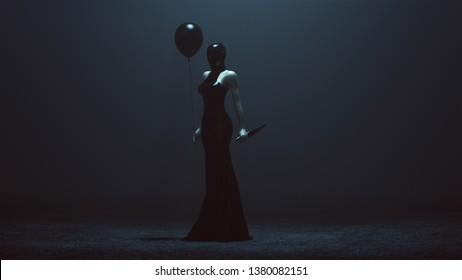 Futuristic Demon Woman With a Black Balloon and a Knife In a Futuristic Haute Couture Dress and face Mask Abstract Demon Assassin 3 Quarter View Left 3d illustration 3d render