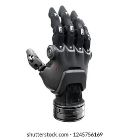 Futuristic design concept of a robotic mechanical arm. Cyber Hand. Black prosthetic hand. Cyberware. Futuristic innovation. Future technology. Artificial hand. 3D rendering on a white background.