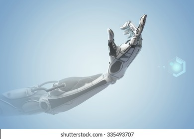 Futuristic design concept. A robotic mechanical arm looks as like a human hand. Showing number one with fingers. Counting down sign gesture. Virtual HUD elements and icons on background