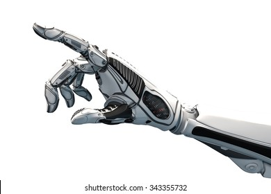 Futuristic design concept of a robotic mechanical arm . Cybernetic organism with Artificial Intelligence working with virtual world. Template Isolated on white background.