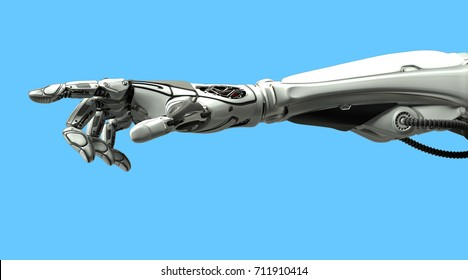 Futuristic design concept. A robotic mechanical arm pointing with index finger like a human hand. Cybernetic organism with Artificial Intelligence in virtual world. Isolated on blue flat background