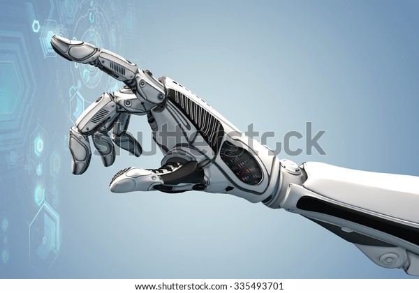 Futuristic design concept. A robotic mechanical arm looks as like a human hand. Cybernetic organism with Artificial Intelligence working with virtual Infographic HUD.