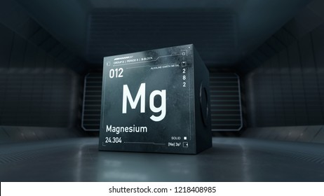 Futuristic design of Magnesium element symbol from the periodc table on metallic cube - 3D render with focus depth of field