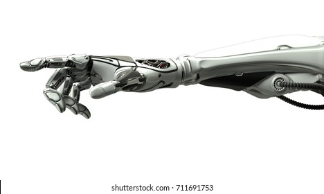 Futuristic design robotic mechanical arm pointing with index finger like a human hand. Cybernetic organism with Artificial Intelligence in virtual world. Isolated on white flat background.3d rendering