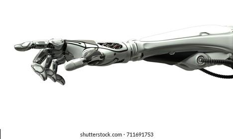 Futuristische Design robotische mechanische Arm mit Zeigefinger wie eine menschliche Hand. Cybernetischer Organismus mit künstlicher Intelligenz in der virtuellen Welt. Einzeln auf weißem, flachem Hintergrund.3D-Darstellung
