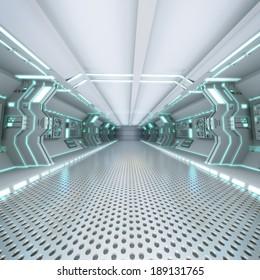 futuristic design spaceship interior with metal floor and light panels