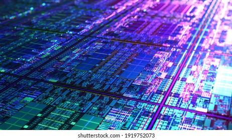 Futuristische Strichprozessortechnologie-Hintergrund. CPU, GPU, CMOS-Mikrochip-Computerprozessoren. AI, Quantencomputer, große Datenverarbeitung, Rechenzentrum. Silicium-Wafer-Verfahren. 3D-Rendering