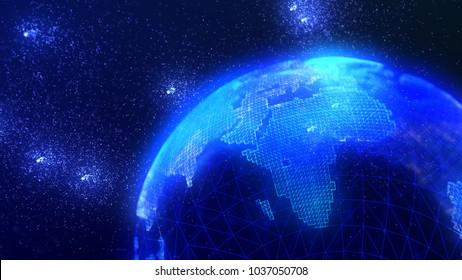 Futuristic digital earth. Connection lines Around Earth Globe, Futuristic Technology Theme. International Connectivity Background. 3D illustration.