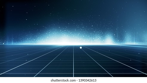 Futuristic digital grid and particles abstract cyber technology environment background. 3D Illustration.
