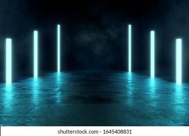 Futuristische Dirty Floor mit Neon Fluorescence Lampen, Metall Anti-Slip Floor, 3D Rendering Futuristic Urban Hintergrund, Technologie abstraktes Sci-Fi Design, Conceptual Cosmic Tomorrow Ästhetik.