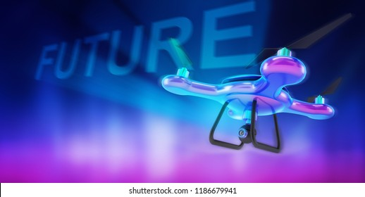 futuristic drone illustration holographic future text on the sky 3d rendering