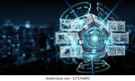 Futuristic drone security camera illustration on dark background 3D rendering