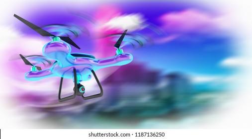 futuristic drone technology 3d rendering illustration