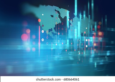 futuristic earth map technology abstract background represent global connection concept