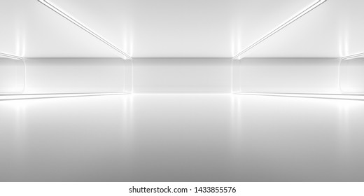 Futuristic empty space corridor with glow light and reflection. Abstract background sci-fi or science concept. 3D Render.