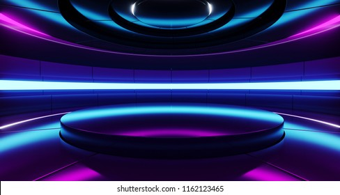 Futuristic Empty Stage Alien Ship Modern Future Background Technology Sci-Fi Interior Concept With Reflective Metal Surface And Purple And Blue Vibrant Neon Lights 3D rendering Illustration