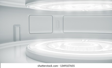 Futuristic empty stage. Modern Future background technology Sci-fi interior concept. 3d rendering