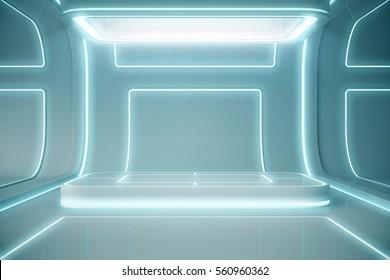 Futuristic empty stage. Modern Future background technology Sci-fi interior concept. 3d rendering