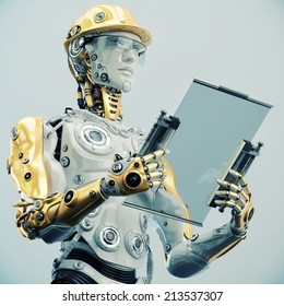 Futuristic Engineer in yellow hardhat holding tablet/ Engineer