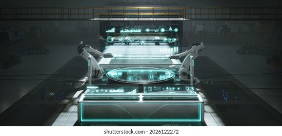 Futuristic factory or workshop with assembly robot arms and virtual interface. Concept of industry 4.0 technology and smart futuristic factory. 3d rendering