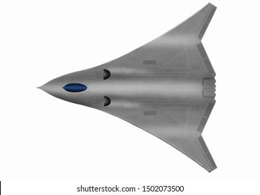 Futuristic fantasy stealth plane. Original digital illustration with white background.