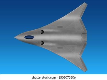 Futuristic fantasy stealth plane. Original digital illustration with blue background.