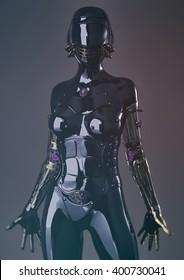 futuristic female cyborg - 3D rendering