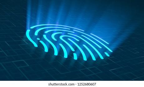 futuristic fingerprint scanner, concept of login and security (3d render)