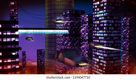 futuristic flying car and city, 3d rendering illustration