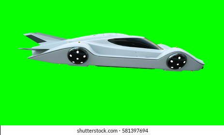 Futuristic flying car . Transport of future. Isolate. 3d rendering.