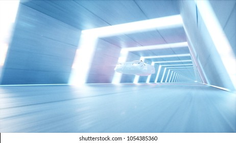 futuristic flying car with woman fast driving in sci fi tunnel, coridor. Concept of future. 3d rendering.