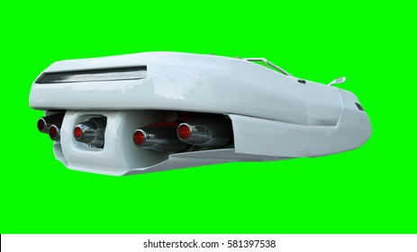 Futuristic flying car with woman. Transport of future. Isolate. 3d rendering.