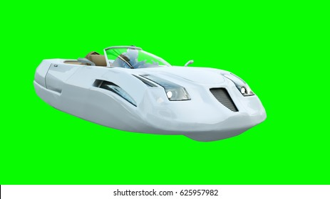 Futuristic flying car with woman. Transport of future. Isolate. 3d rendering