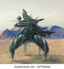 Futuristic four leg robot on lost post apocalyptic planet concept art